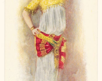 Artist-Signed Oriental Dancer Postcard, c. 1910