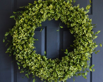 "XL Boxwood Wreath | 28"" Artificial Boxwood Wreath 