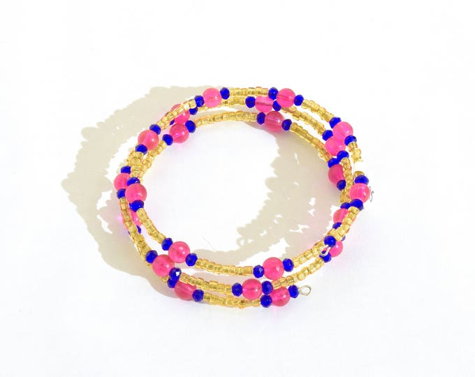 Golden, Pink and Blue Beaded Wrap-Around Bangle- crafted by Nepalese human trafficking victims