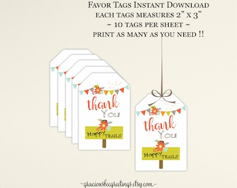 Party Favor Tags, Thank You Tag, Happy Trails Favor Tags, Camping Party Favor Tags, Glamping Happy Trails Party Favor Tags, K9008.c