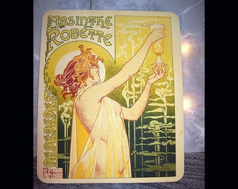 Absinthe mouse pad retro vintage art deco nouveau pin up liquor advertising green fairy