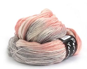 Hand dyed 4ply merino bamboo wool, fingering crochet yarn, Perran Yarns, Smoked Salmon grey peach pink variegated sock yarn skein, uk seller