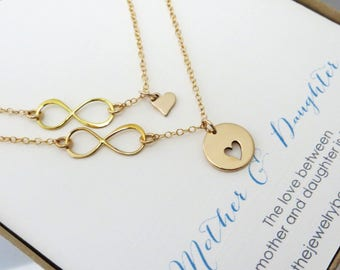 Mother daughter jewelry - mother daughter necklace - infinity heart necklace - mother of the bride gift - special wedding day gift