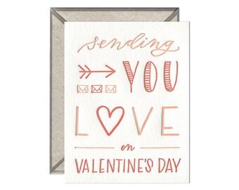 Sending Love valentine's day letterpress card