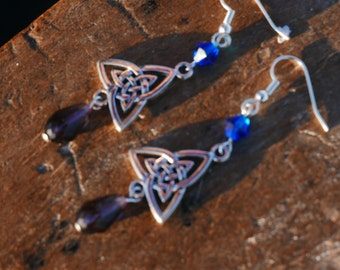 Purple/blue and Silver colored Celtic Knot Earrings