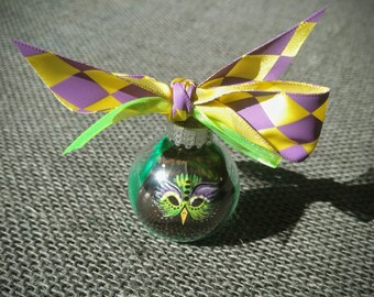 Mini Mardi Gras Bird Mask Painted on a Mississippi Wild Turkey Feather in Glass Ornament. Green Purple Gold Yellow.