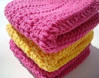 Pink and Yellow Cotton Washcloth, Dishcloth - Yellow and Pink, Crochet, Crocheted Dish Cloth, Wash Cloth - Summer Bright - Ready To Ship
