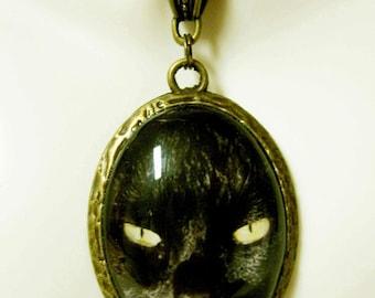 Black cat face pendant with chain - CAP09-073