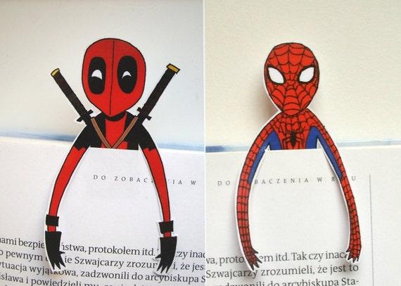 Deadpool Spiderman Bookmarks Spideypool Marvel