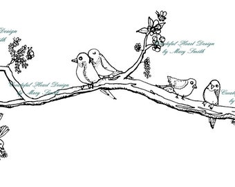 Spring Time Birds - on a branch, flowers, digital stamp, friendship, love,