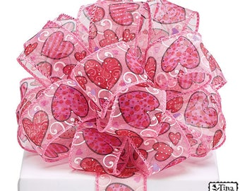 1.5 x 5 yards- Pink sheer Heart ribbon, Valentine ribbon, valentine ribbons, valentines day ribbon, Happy Valentines Day Ribbon