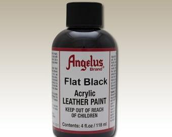 Flat Black Angelus Acrylic Leather Paint 4 oz