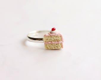 Miniature Cake Slice Ring, Miniature Food Jewelry