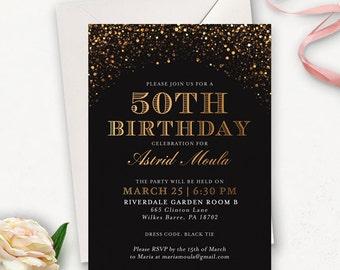 50. Geburtstagseinladung / Golden Geburtstagseinladung / druckbare Geburtstageinladungen für Frauen / Überraschung Geburtstageinladungen