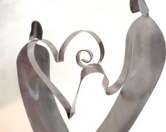 WEDDING GIFTS -  My Heart - SCULPTURE- stainless steel metal- anniversaries too!