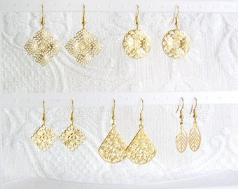 Five Pair GOLD or SILVER Filigree Pierced or Clip On Earrings