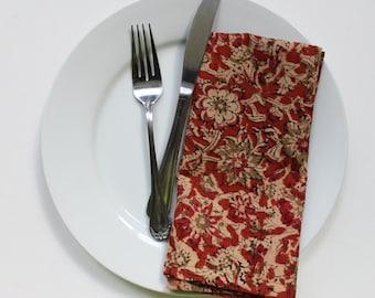 Orange cotton dinner napkins SET of 4 - Kalamkari block print  handmade cloth napkins - rustic eco friendly orange napkins - hostess gift