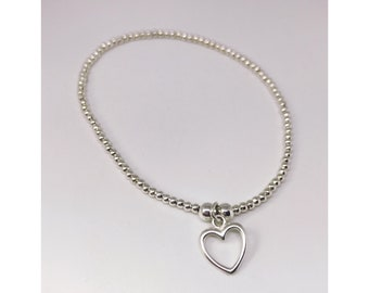 Sterling silver open heart ball bead bracelet