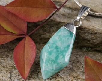 One AMAZONITE Pendant - Amazonite Crystal Point Necklace, Amazonite Necklace, Amazonite Stone, Amazonite Jewelry, Crystal Necklace E0303