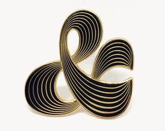 Black Ampersand Enamel Pin, Martina Flor Jewellery, Gift for Letter Lovers