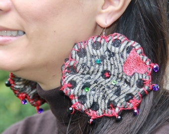 Statement Pomegranate Earrings with Swarovski Crystals Crochet Heart Pomegranate Valentine Sparkle Date Night