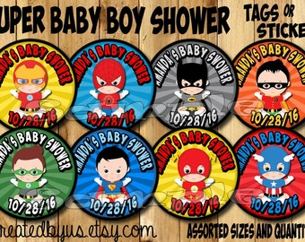 Baby boy Superhero Thank you tags Superhero Baby Shower stickers baby super hero Party favor tags Custom Gift tags Cupcake toppers PRECUT