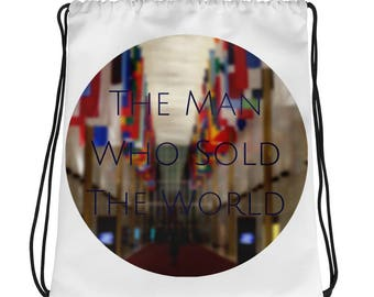 "David Bowie inspired drawstring bag, song title ""The Man Who Sold the World"" by David Bowie, photo of The Kennedy Center Hall of Nations"