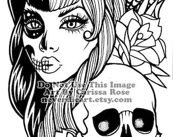 ORIGINAL Drawing Inktober 2016 - ooak Girl With Skull Tattoo Flash Style Illustration