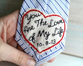 Groom Gift from Bride. Hand Embroidered Tie Patch. Groom Gift. Tie Patch. Groom. Necktie. Hand Stitched Embroidery. Wedding Gift. Keepsake.