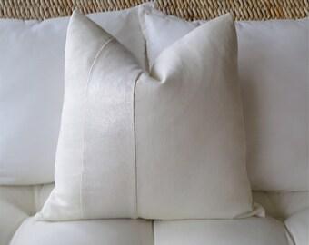 Shimmer Stripe Ivory Linen Pillow Cover, 18 x 18 inch, 20 x 20 inch, 22 x 22 inch, 24 x 24 inch, Metallic Linen, Euro Sham, Pillow Sham