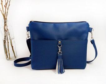 Crossbody bags For women Vegan leather Crossbody purse Red Crossbody Bag Gift for mother Crossbody Handbag - Bag with tassel