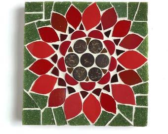 Flower Mosaic, red poppy/poinsetta mosaic artwork, mosaic wall art,