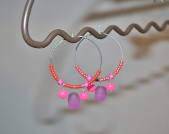 Pink and purple rings earrings