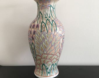 Vintage, Large Oriental Vase, Famille Rose, Chinese Vase, Oriental Decor,Asian Interiors,Vase,Home Decor,Asian Vase,Chinese,Asian,Oriental