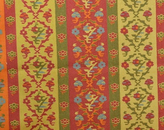 Cotton Upholstery Fabric, Canvas Fabric, Striped Upholstery, Orange Red Upholstery, Boho fabric, Stripe Fabric - 1 Yard - UF2548