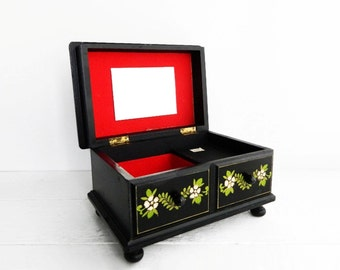 Vintage Jewelry Box, Music Box, Black Painted Wood with Red Interior