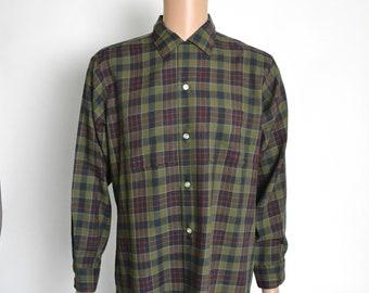 Vintage 1950s Shirt 50s Plaid Arrow Long Sleeve Looped Collar