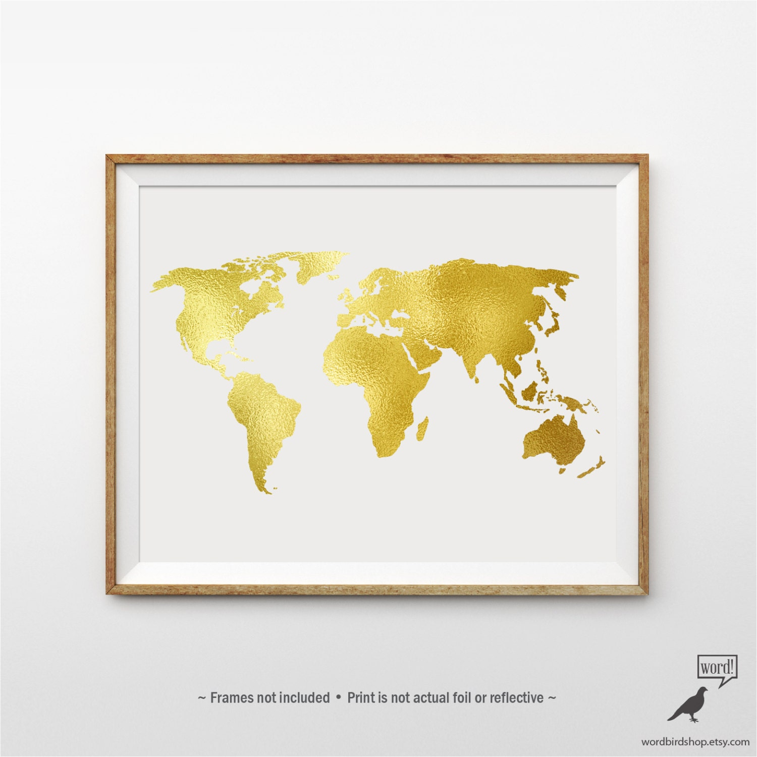 Gold world map poster matte gold print large world map zoom gumiabroncs Images