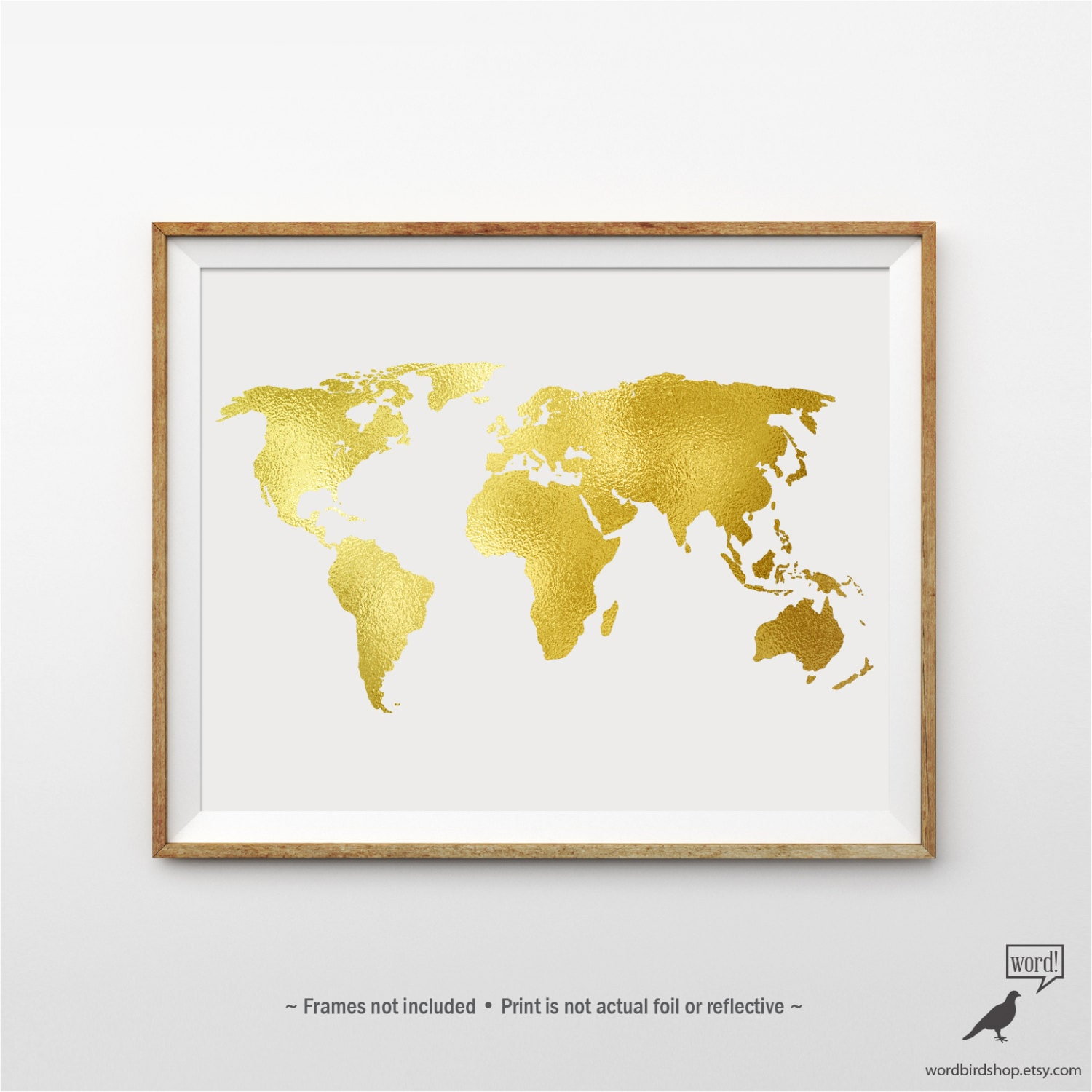 Gold world map poster matte gold print large world map zoom gumiabroncs Gallery