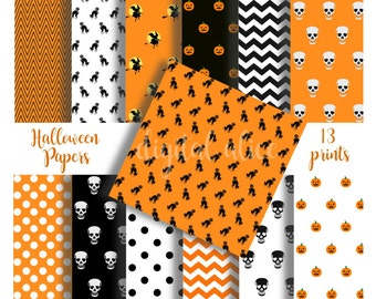 Digital HALLOWEEN PRINT PAPERS - printable patterned digital paper backgrounds for crafts,party, witch,cat,pumpkin,skull - 13 papers