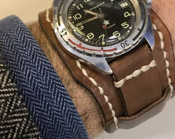 Cuff Watch-Bracelet watch-vintage-military-Genuine leather-handmade in Italy-20/18 mm Swich twine no buckle and no clock no clock