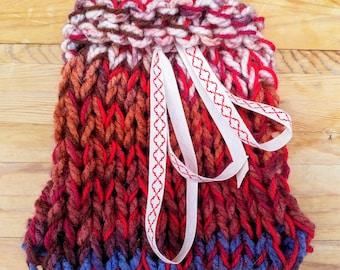 Hand-knitted Drawstring Keepsake Bag in Red, Blue & White Yarns