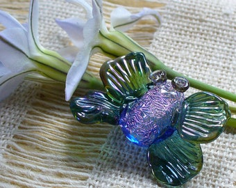 Lampwork beads/glass beads/sra lampwork/moth/butterfly/dichroic/pink/focal/