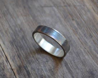 Sterling chunky men's ring band, oxidize sterling ring band, black simple sterling silver men ring band , simple sterling silver ring band