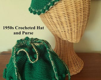 Vintage Crocheted Hat and Purse Matching Set Bright Green with Gold Metallic 1950s