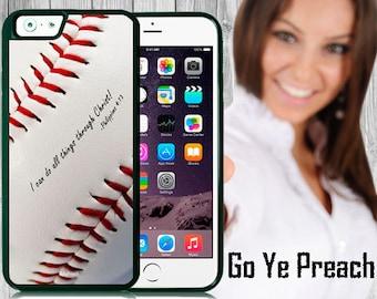 Philippians 4:13 Baseball Phone Case, Bible Verse Scripture iPhone case 4/4s 5/5s 5c 6 & Samsung Galaxy case s3 s4 s5 Faith iPhone Cover