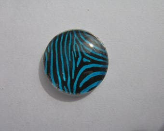Glass cabochon round 20 mm with image black and Blue Zebra