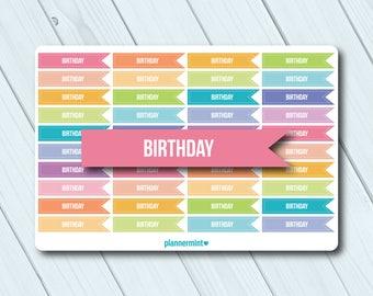 Birthday Stickers - Planner Stickers - Flag - Header - Erin Condren Life Planner - Happy Planner - Kikki K - Personal - Matte or Glossy