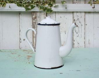 Coffee Pot / French Coffee Pot / Enamel Coffee Pot / French Enamelware / Vintage Coffee Pot / Enamelware / French Vintage / Shabby Chic