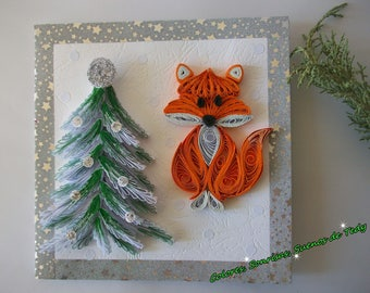 Fox Christmas card, Paper gift, Handmade paper card, Paper quilling, Christmas Quilling Card, 3D Handmade Card, Xmas Greeting Card